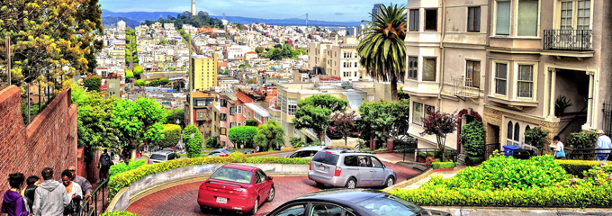 View from the top of Lombard St. in Russian Hill