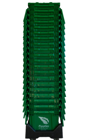 green moving boxes stack