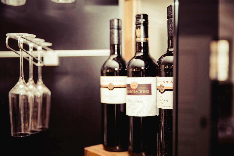 wine bottles in kitchen